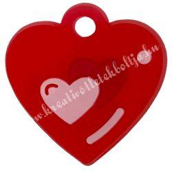 Gumigyűrű dísz, 20x20 mm, szivecske-piros, 1 darab