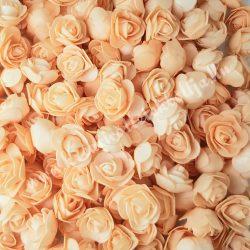 Habrózsa/ polifoam rózsa, barack, 3 cm, 50db/csomag