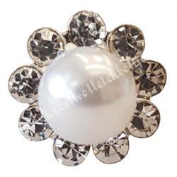 Hajtű, virág alakú, középen gyönggyel, 1,2x7,3 cm