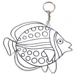 Festhető forma matricafestékhez, (kulcstartó), hal, 12,5x9,5 cm