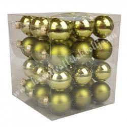 Karácsonyfadísz, üveggömb, oliva, matt/fényes, 36 db/doboz, 3 cm