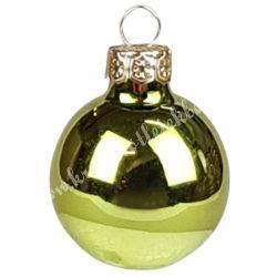 Karácsonyfadísz, üveggömb, oliva, fényes, 3 cm