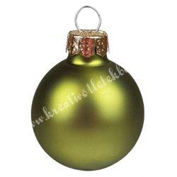 Karácsonyfadísz, üveggömb, oliva, matt, 3 cm