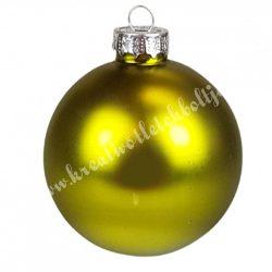Karácsonyfadísz, üveggömb, oliva, matt, 6 cm