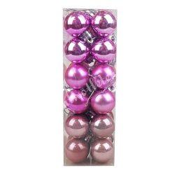 Karácsonyfadísz, gömb, élénk rózsaszín, 3 cm, 24 db/doboz