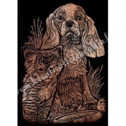 Karckép gravírozó készlet karctűvel, Cica, kutya, réz, 12x18 cm
