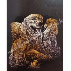 Karckép gravírozó készlet karctűvel, Kutyák, arany, 20x25 cm
