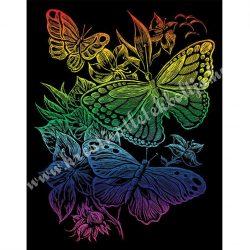 Karckép gravírozó készlet karctűvel, Pillangók, szivárvány, 20x25 cm