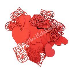 Karton szív csomagban, vegyes méretek, piros
