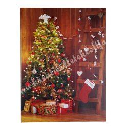 Kép fenyőfával, ajándékokkal, váltakozó led világítással, 30x40 cm