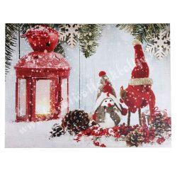 Kép hóemberrel, tobozzal, led világítással, 40x30 cm
