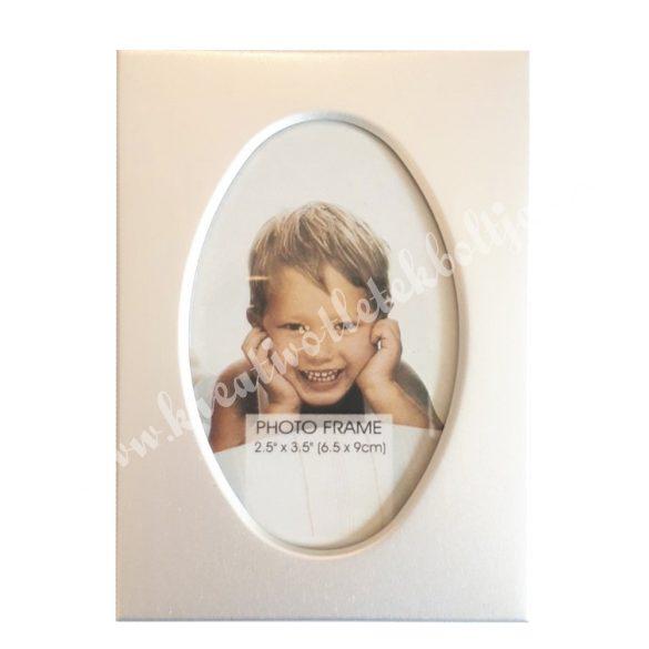 Fém képkeret, ovális, 9x6,5 cm