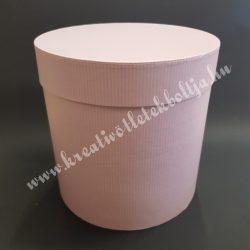 Papírdoboz, rózsaszín, lila csíkos,közepes, 17,5 cm