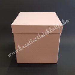 Papírdoboz, rózsaszín, sárga pöttyös, közepes, 14 cm