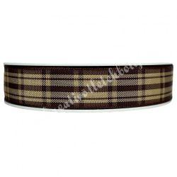 Kockás szalag, barna, 15mm