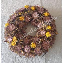 Koszorú virággal, lila-sárga, nagy