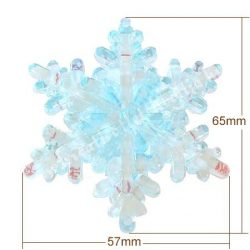 Fűzhető műanyag hókristály, 65x57mm, 1 darab