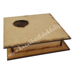 Dekor alap, MDF doboz kivágott körrel, asszimetrikus, 18x5 cm