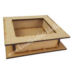 Dekor alap, MDF doboz kivágott négyzettel, 18x5 cm