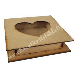 Dekor alap, MDF doboz kivágott szívvel, 18x5 cm