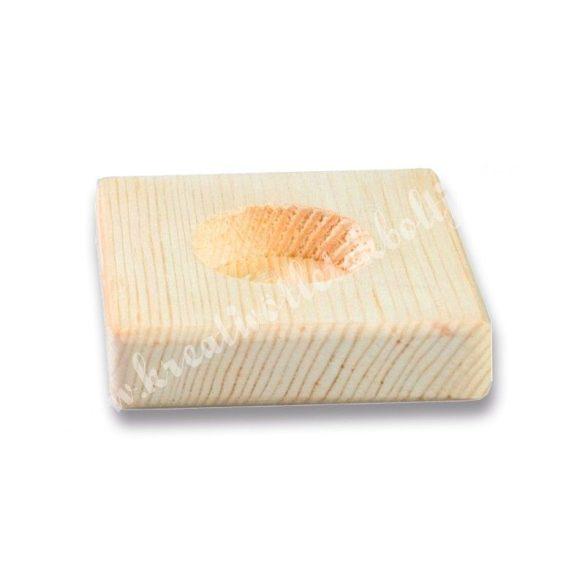 Fa mécsestartó, négyszög alakú, 8x2 cm