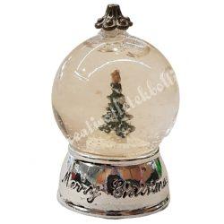 Mini hógömb, fenyőfával, 3,5x5,5 cm