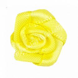 Mini szaténrózsa, citromsárga, 1,7 cm