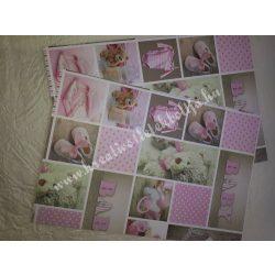 Baby mintás karton rózsaszín, kétoldalas