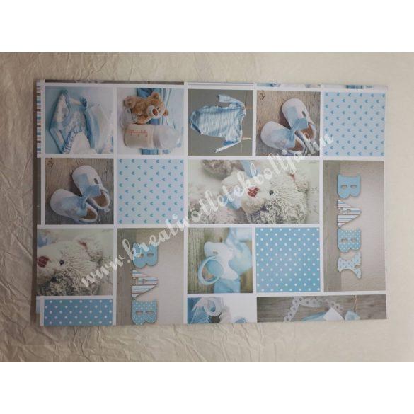Baby mintás karton világoskék, kétoldalas