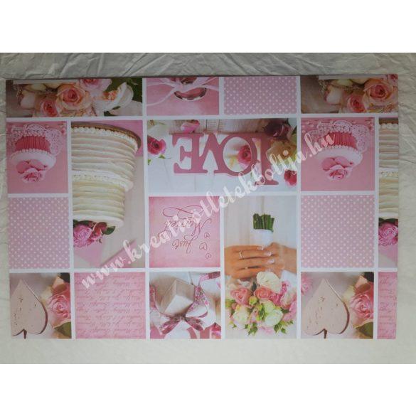 Esküvői mintás karton rózsaszín, kétoldalas