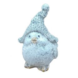 Kerámia madár, előre néző, fehér, csillámos, 5x7 cm