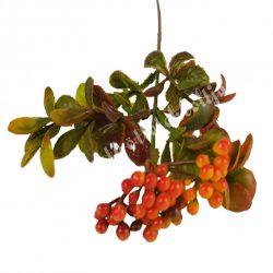 Díszítő ág, bogyós, narancssárga, 54 cm