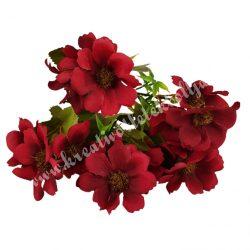 Selyemvirág csokor, burgundi, kb. 30 cm