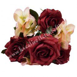 Rózsa, hortenzia csokor, burgundy-rózsaszín, 36 cm