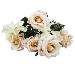 Rózsa, hortenzia csokor, púder rózsaszín-fehér, 36 cm