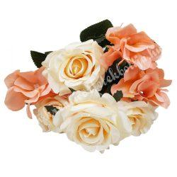 Rózsa, hortenzia csokor, púder rózsaszín-lazac, 36 cm