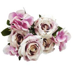 Rózsa, hortenzia csokor, vintage lila-lila, 36 cm