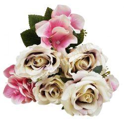 Rózsa, hortenzia csokor, vintage lila-rózsaszín, 36 cm
