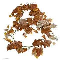 Őszi levélgirland, barna, narancssárga, 180 cm