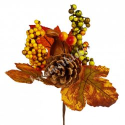Beszúrós dísz, őszi pick tökkel és tobozzal, 11x19 cm
