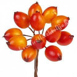 Beszúrós dísz, őszi csipkebogyó pick, 1,5x2 cm, 12 db/csokor
