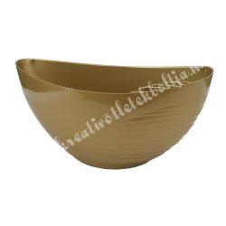 Műanyag csónak kaspó, féloldalt bordás, arany, 18x12 cm