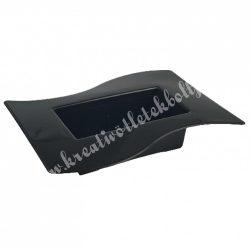 Műanyag tál, hullámos szélű, grafit szürke, 24x5 cm