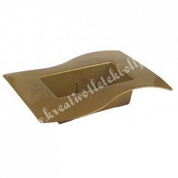 Műanyag tál, hullámos szélű, arany, 24x5 cm