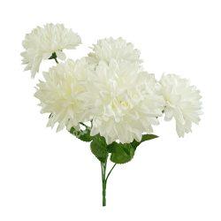 Krizantém csokor, törtfehér, 5 virág/csokor, kb. 37 cm