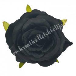 Rózsa virágfej, fekete, kb. 9 cm