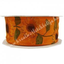 Textil szalag, napraforgó, narancs, 4 cm