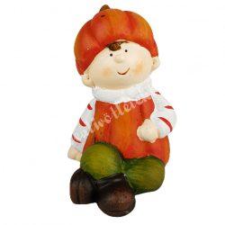 Kerámia ülő tök figura, kisfiú, 7x11 cm