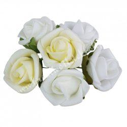 Betűzős rózsacsokor, fehér-vanília-krém, 6 db/csokor