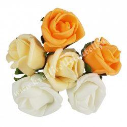Betűzős rózsacsokor, narancs-barack-krém, 6 db/csokor